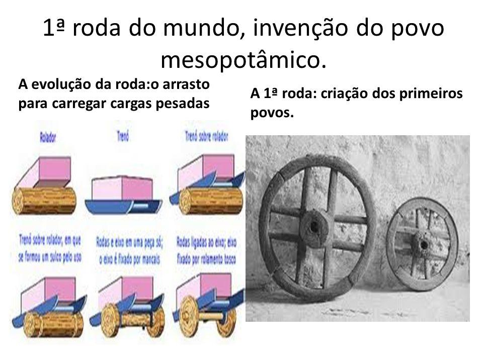 1ª roda do mundo, invenção do povo mesopotâmico. A evolução da roda:o arrasto para carregar cargas pesadas A 1ª roda: criação dos primeiros povos.
