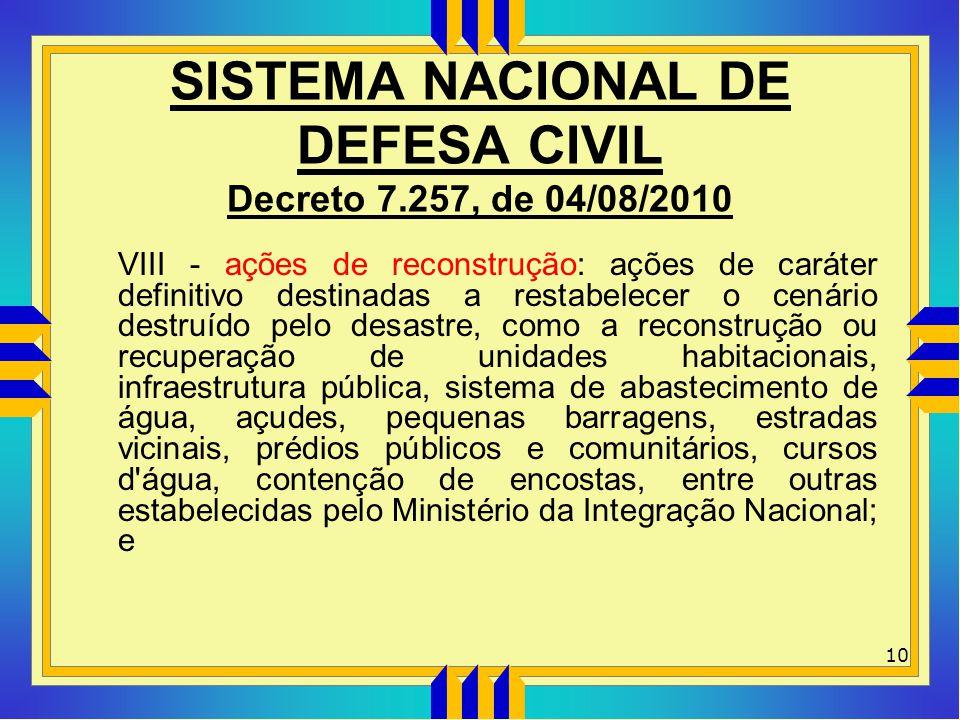 SISTEMA NACIONAL DE DEFESA CIVIL Decreto 7.257, de 04/08/2010 VIII - ações de reconstrução: ações de caráter definitivo destinadas a restabelecer o ce