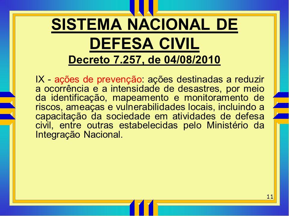 SISTEMA NACIONAL DE DEFESA CIVIL Decreto 7.257, de 04/08/2010 IX - ações de prevenção: ações destinadas a reduzir a ocorrência e a intensidade de desa