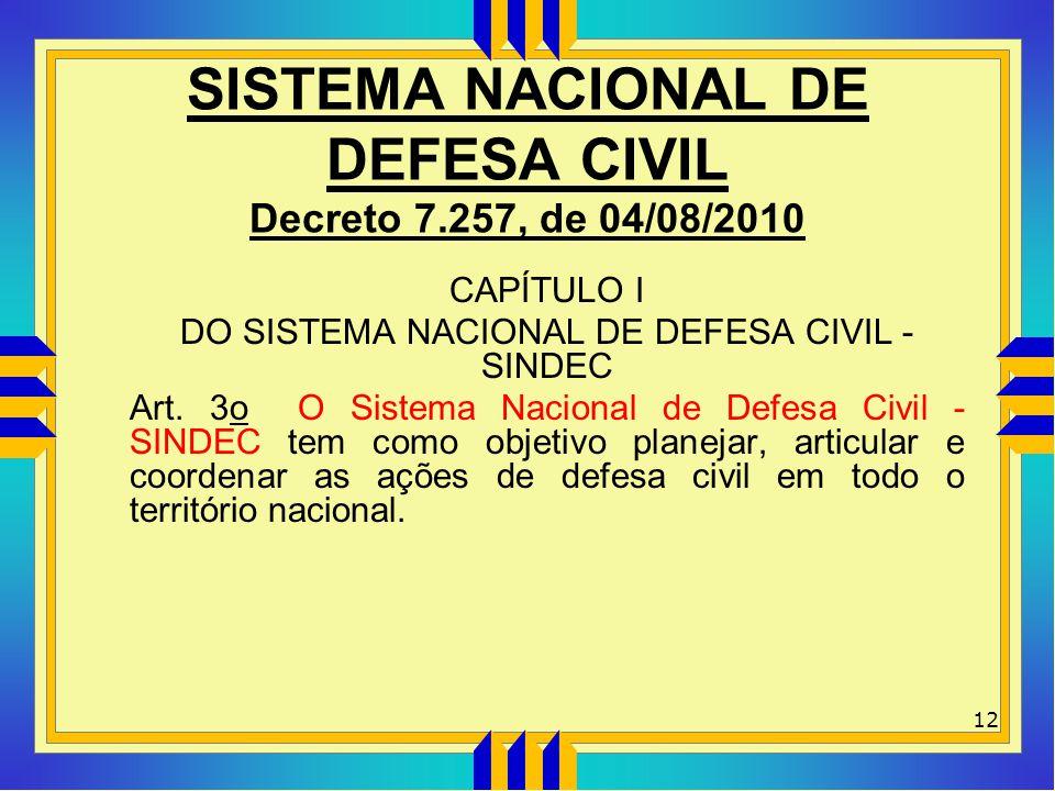 SISTEMA NACIONAL DE DEFESA CIVIL Decreto 7.257, de 04/08/2010 CAPÍTULO I DO SISTEMA NACIONAL DE DEFESA CIVIL - SINDEC Art. 3o O Sistema Nacional de De