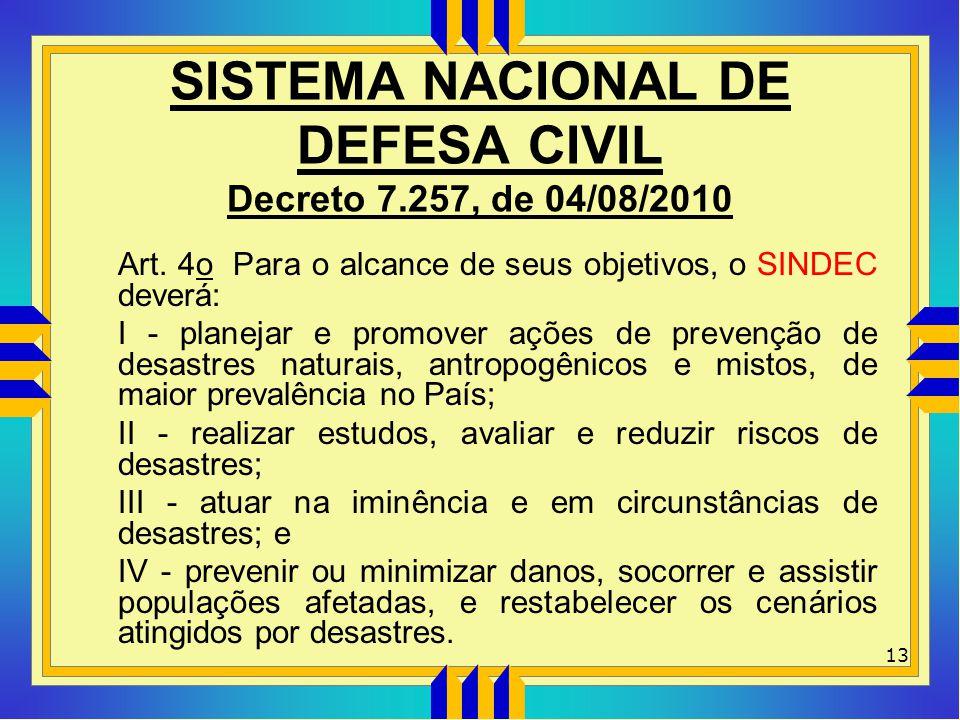 SISTEMA NACIONAL DE DEFESA CIVIL Decreto 7.257, de 04/08/2010 Art. 4o Para o alcance de seus objetivos, o SINDEC deverá: I - planejar e promover ações