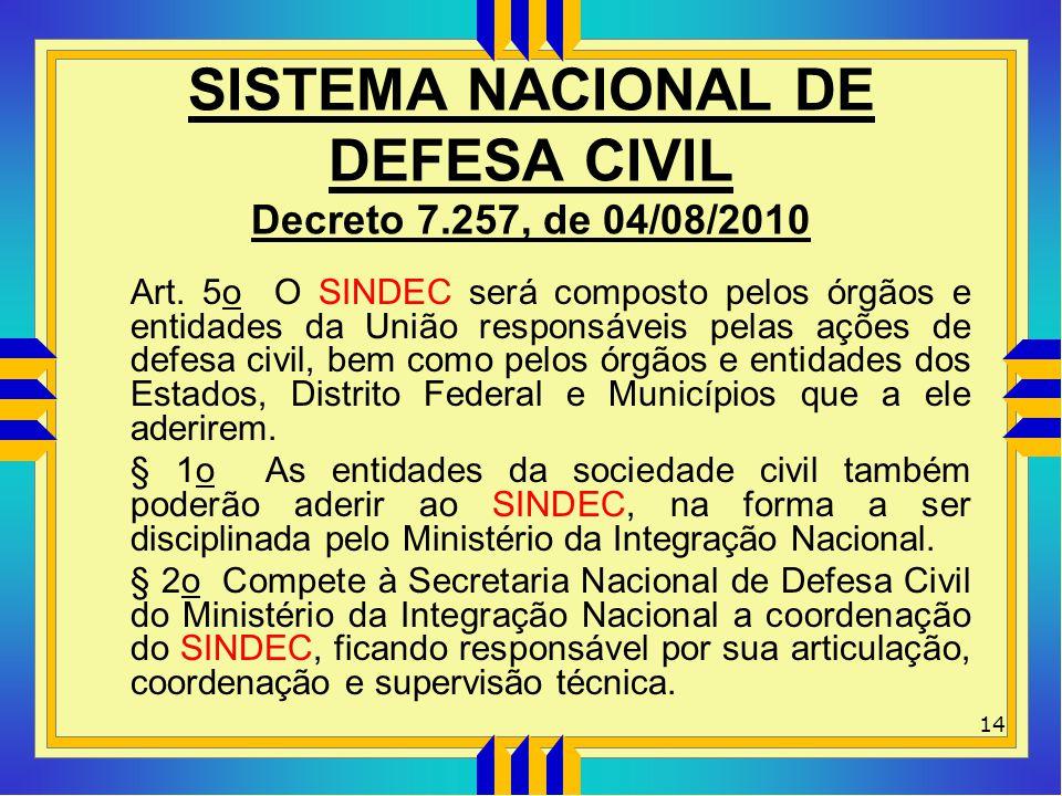 SISTEMA NACIONAL DE DEFESA CIVIL Decreto 7.257, de 04/08/2010 Art. 5o O SINDEC será composto pelos órgãos e entidades da União responsáveis pelas açõe