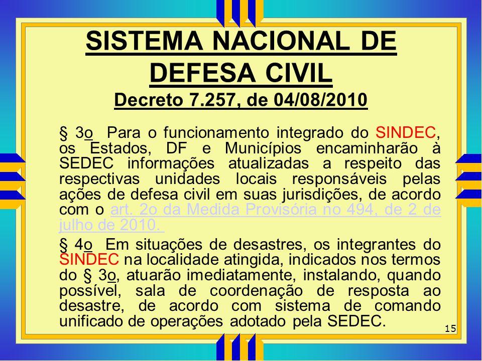 SISTEMA NACIONAL DE DEFESA CIVIL Decreto 7.257, de 04/08/2010 § 3o Para o funcionamento integrado do SINDEC, os Estados, DF e Municípios encaminharão