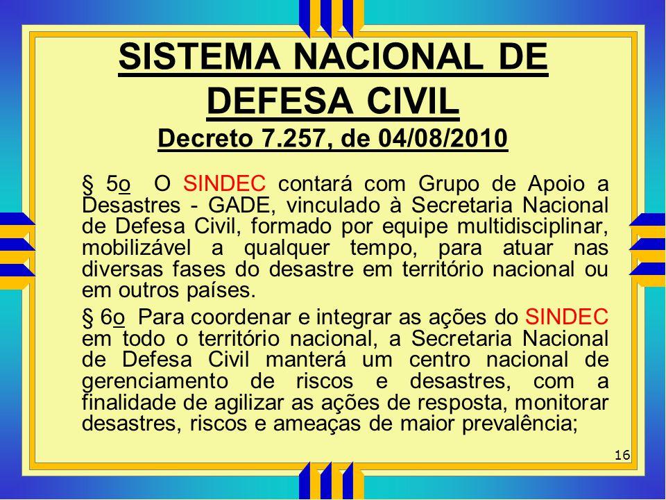 SISTEMA NACIONAL DE DEFESA CIVIL Decreto 7.257, de 04/08/2010 § 5o O SINDEC contará com Grupo de Apoio a Desastres - GADE, vinculado à Secretaria Naci
