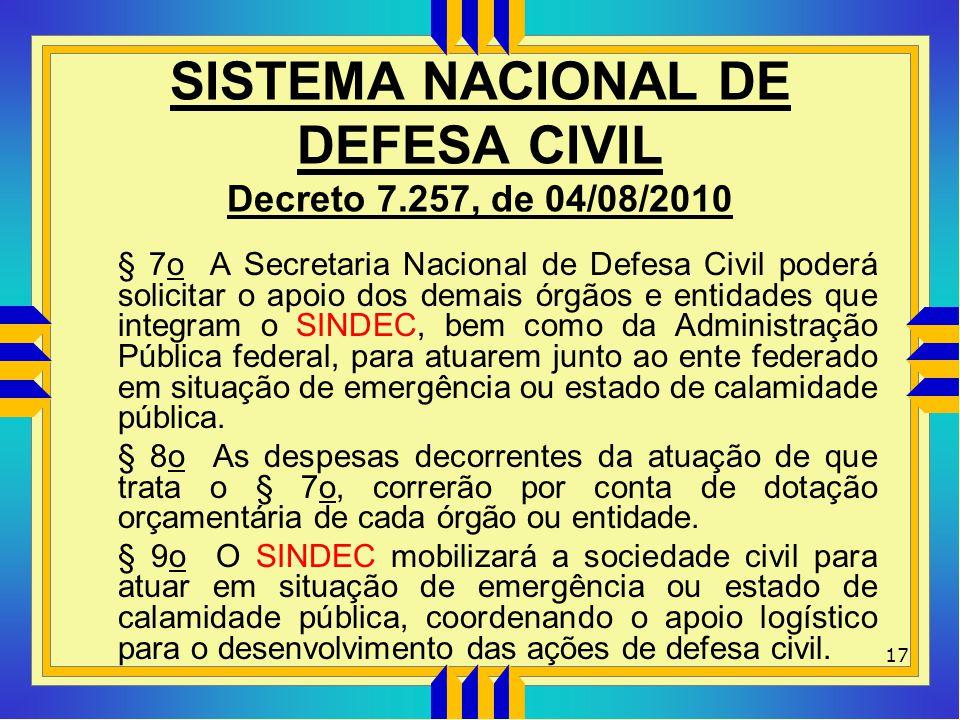 SISTEMA NACIONAL DE DEFESA CIVIL Decreto 7.257, de 04/08/2010 § 7o A Secretaria Nacional de Defesa Civil poderá solicitar o apoio dos demais órgãos e