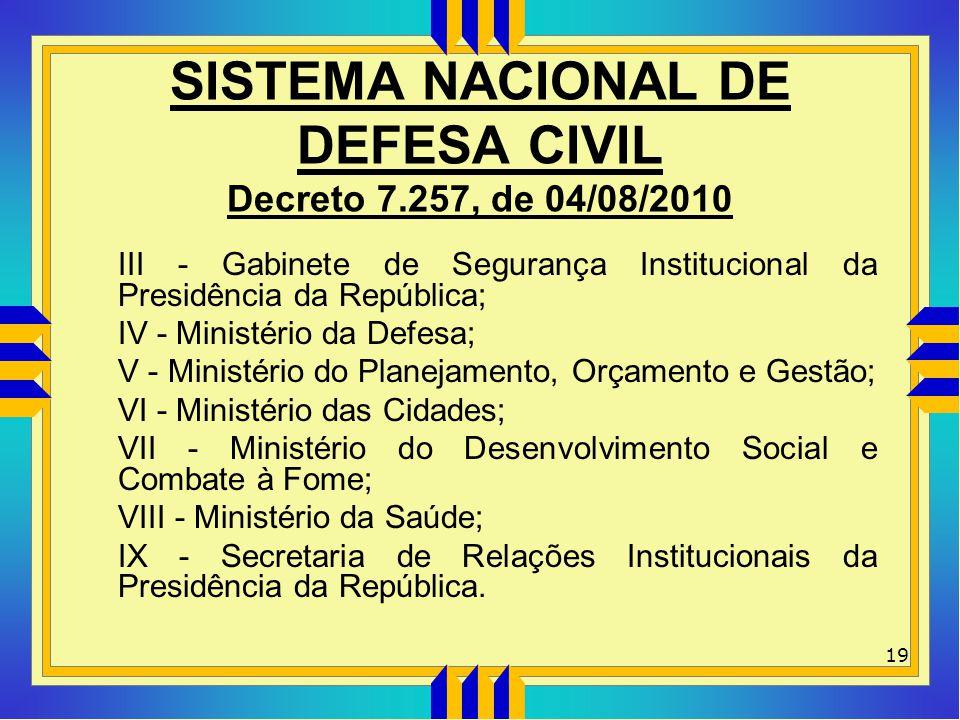 SISTEMA NACIONAL DE DEFESA CIVIL Decreto 7.257, de 04/08/2010 III - Gabinete de Segurança Institucional da Presidência da República; IV - Ministério d