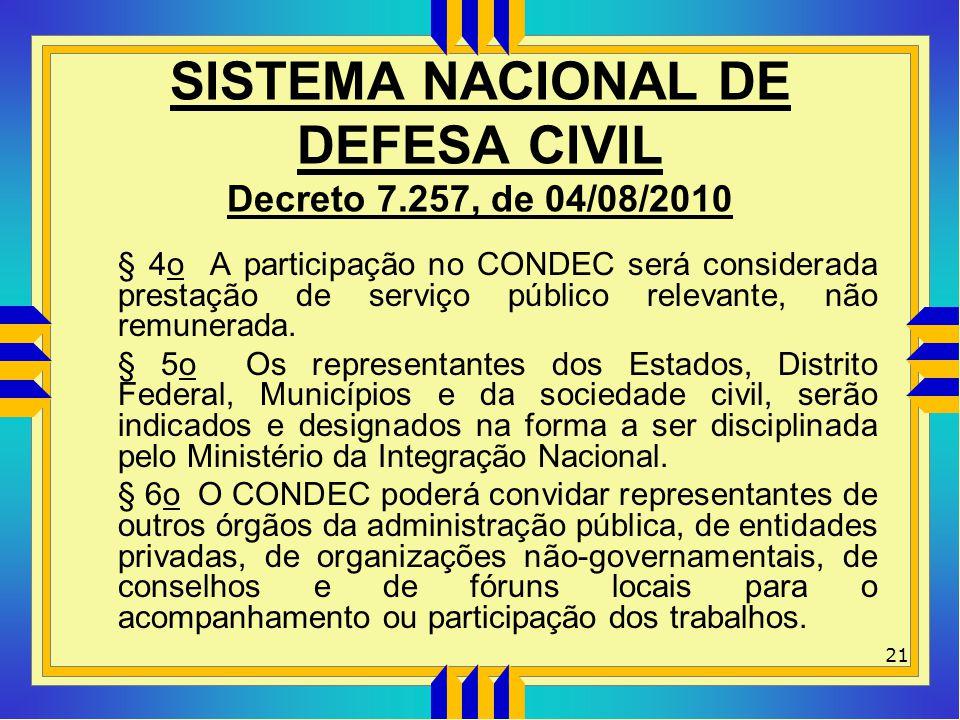 SISTEMA NACIONAL DE DEFESA CIVIL Decreto 7.257, de 04/08/2010 § 4o A participação no CONDEC será considerada prestação de serviço público relevante, n