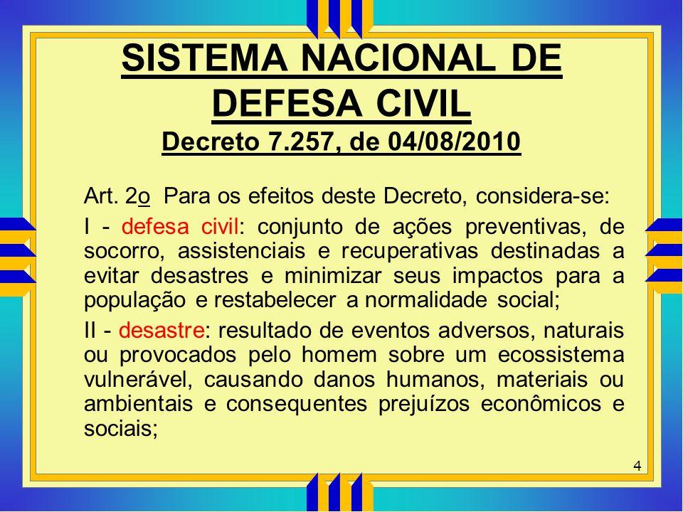 SISTEMA NACIONAL DE DEFESA CIVIL Decreto 7.257, de 04/08/2010 Art. 2o Para os efeitos deste Decreto, considera-se: I - defesa civil: conjunto de ações