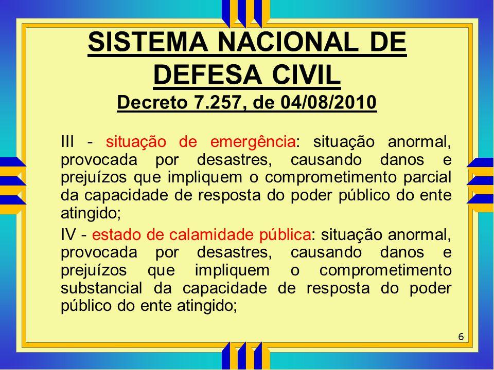 SISTEMA NACIONAL DE DEFESA CIVIL Decreto 7.257, de 04/08/2010 III - situação de emergência: situação anormal, provocada por desastres, causando danos
