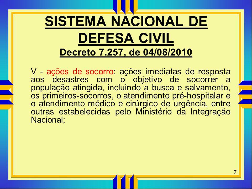 SISTEMA NACIONAL DE DEFESA CIVIL Decreto 7.257, de 04/08/2010 V - ações de socorro: ações imediatas de resposta aos desastres com o objetivo de socorr