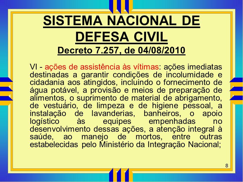 SISTEMA NACIONAL DE DEFESA CIVIL Decreto 7.257, de 04/08/2010 VI - ações de assistência às vítimas: ações imediatas destinadas a garantir condições de