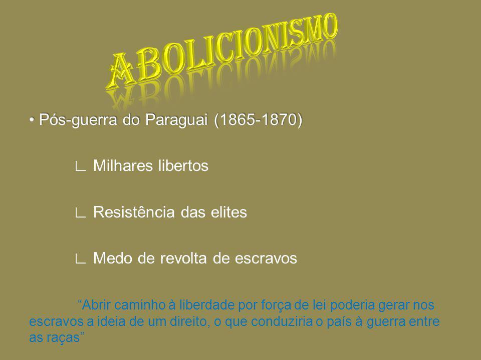 Pós-guerra do Paraguai (1865-1870) Pós-guerra do Paraguai (1865-1870) Milhares libertos Resistência das elites Medo de revolta de escravos Abrir caminho à liberdade por força de lei poderia gerar nos escravos a ideia de um direito, o que conduziria o país à guerra entre as raças