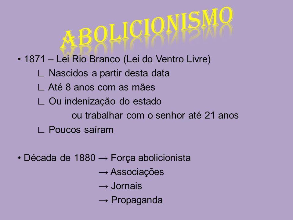 1871 – Lei Rio Branco (Lei do Ventro Livre) Nascidos a partir desta data Até 8 anos com as mães Ou indenização do estado ou trabalhar com o senhor até