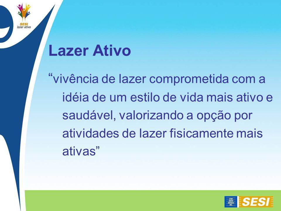 Lazer Ativo vivência de lazer comprometida com a idéia de um estilo de vida mais ativo e saudável, valorizando a opção por atividades de lazer fisicamente mais ativas