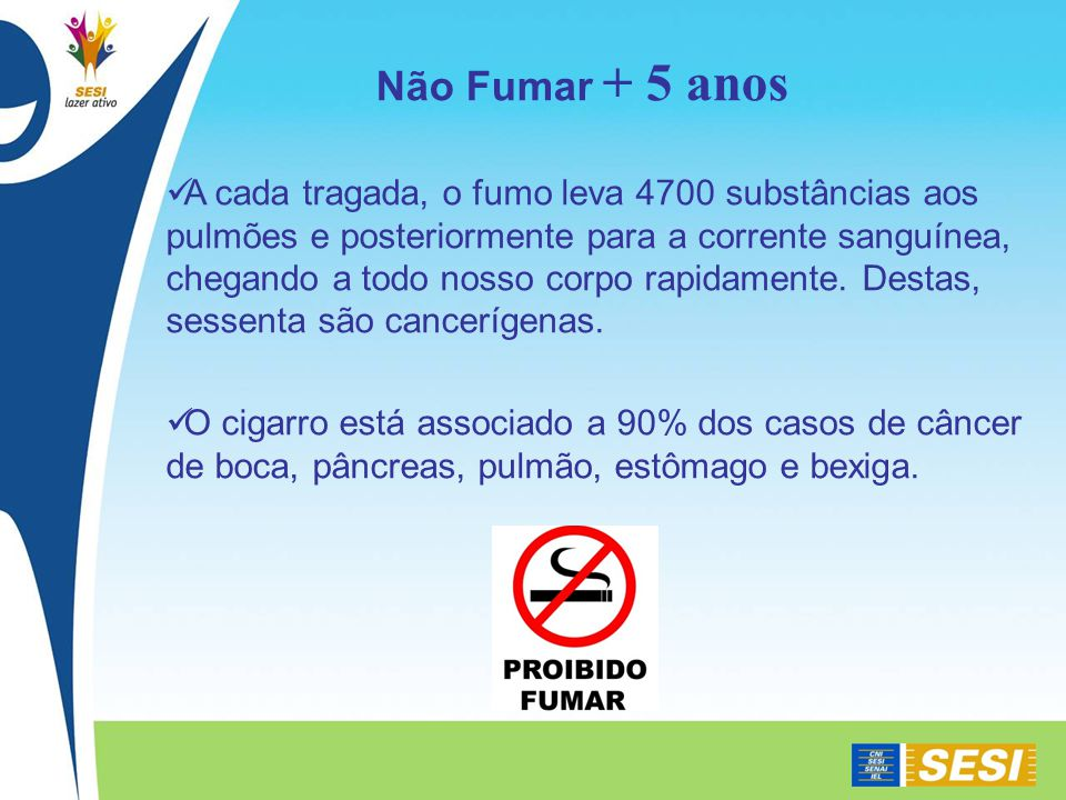 A cada tragada, o fumo leva 4700 substâncias aos pulmões e posteriormente para a corrente sanguínea, chegando a todo nosso corpo rapidamente.