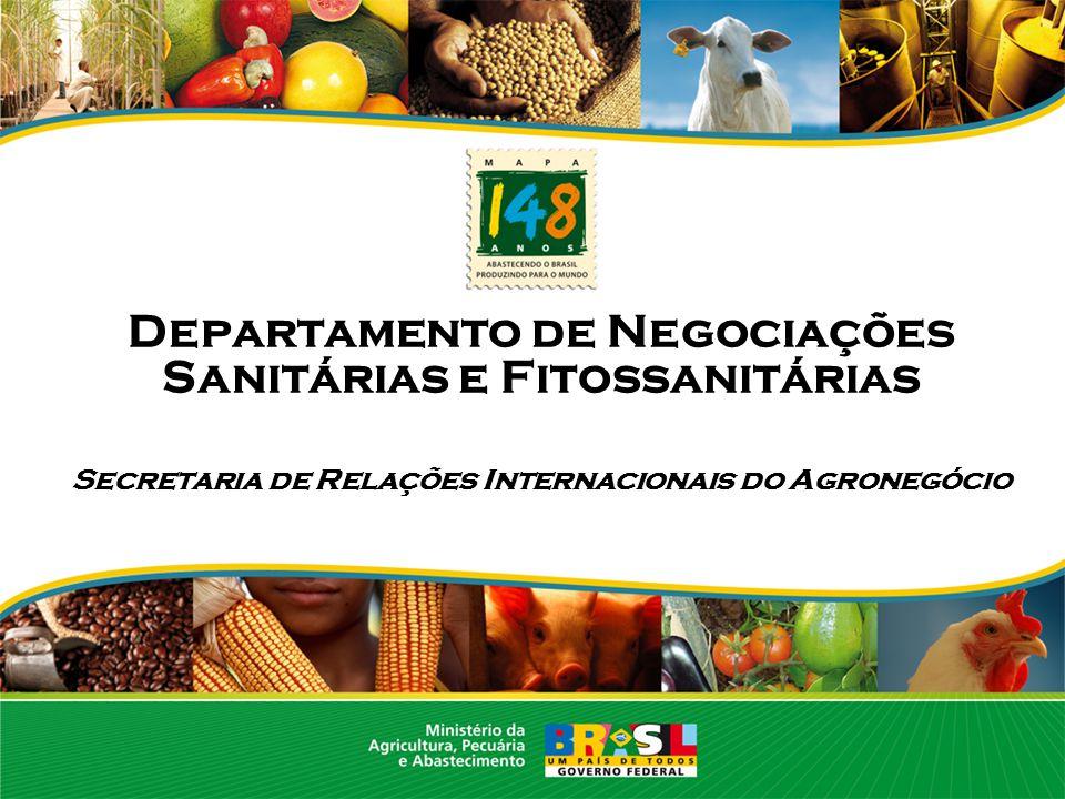 O DNSF: Responsável pelas negociações – bilaterais e multilaterais – questões sanitárias e fitossanitáris, aspectos de meio ambiente no comércio e temas não-tarifários Secretaria de Relações Internacionais do Agronegócio Departamento de Promoção Internacional do Agronegócio Departamento de Negociações Sanitários e Fitossanitários Departamento de Assuntos Comerciais Estatísticas/divulgação/ promoção Tarifas e cotas Criada em janeiro de 2005 (Decreto 5.351-21/01/2005) Criação do Departamento de Negociações Sanitárias e Fitossanitárias - DNSF
