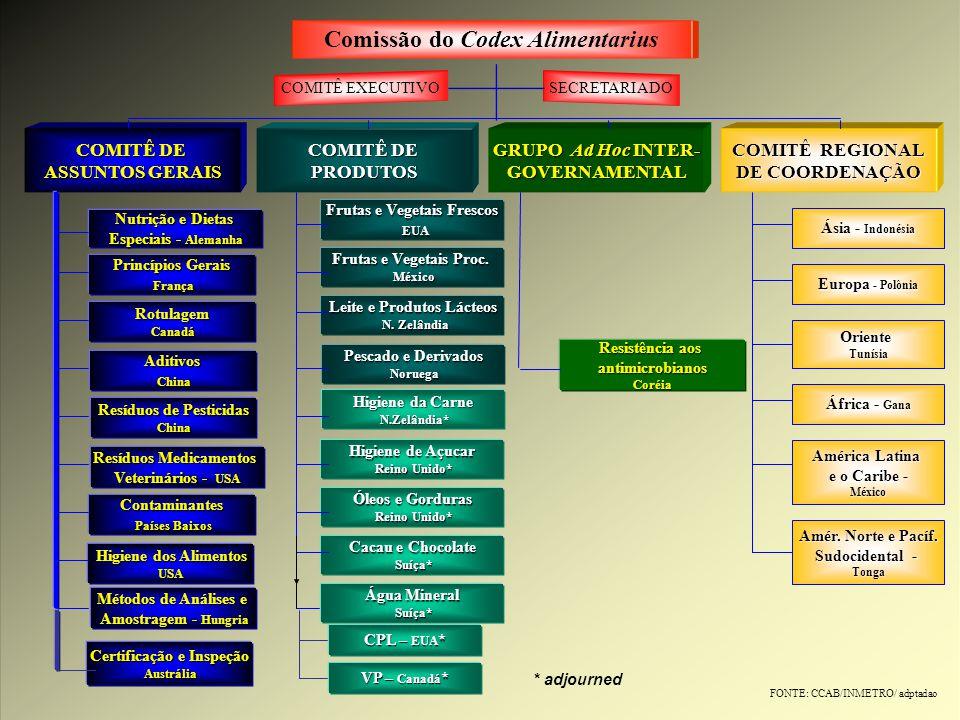 Comissão do Codex Alimentarius COMITÊ EXECUTIVOSECRETARIADO COMITÊ DE ASSUNTOS GERAIS COMITÊ DE PRODUTOS GRUPO Ad Hoc INTER- GOVERNAMENTAL COMITÊ REGI