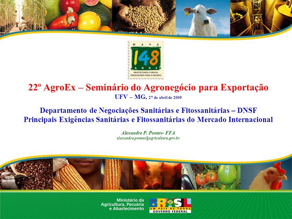 22º AgroEx – Seminário do Agronegócio para Exportação UFV – MG, 27 de abril de 2009 Departamento de Negociações Sanitárias e Fitossanitárias – DNSF Pr