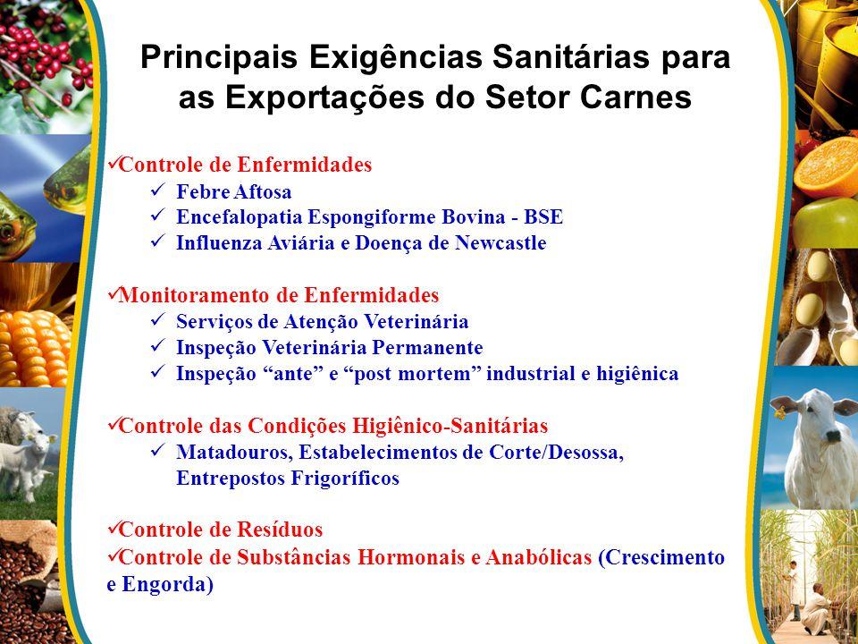 Principais Exigências Sanitárias para as Exportações do Setor Carnes Controle de Enfermidades Febre Aftosa Encefalopatia Espongiforme Bovina - BSE Inf
