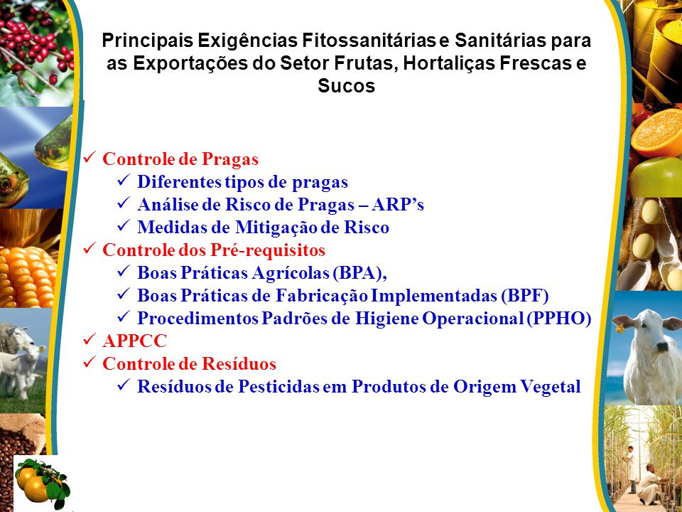 Principais Exigências Fitossanitárias e Sanitárias para as Exportações do Setor Frutas, Hortaliças Frescas e Sucos Controle de Pragas Diferentes tipos
