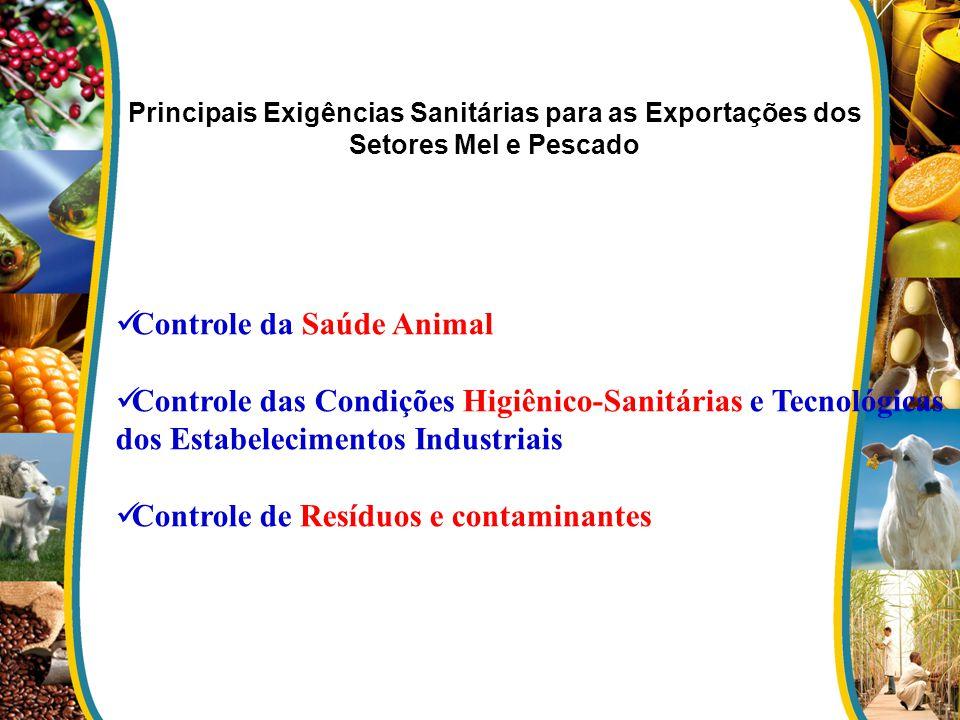 Principais Exigências Sanitárias para as Exportações dos Setores Mel e Pescado Controle da Saúde Animal Controle das Condições Higiênico-Sanitárias e