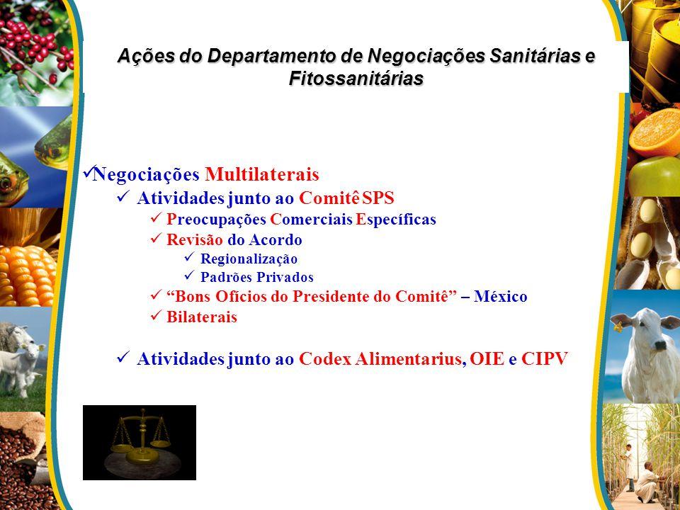Ações do Departamento de Negociações Sanitárias e Fitossanitárias Negociações Multilaterais Atividades junto ao Comitê SPS Preocupações Comerciais Esp