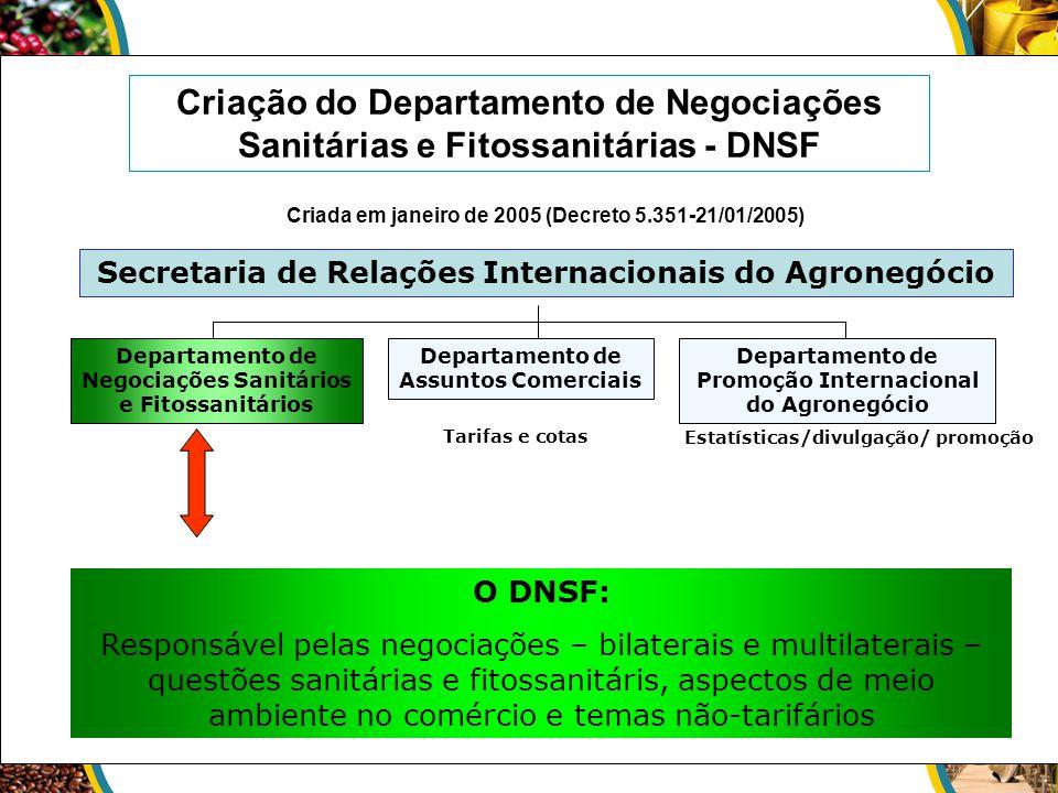 O DNSF: Responsável pelas negociações – bilaterais e multilaterais – questões sanitárias e fitossanitáris, aspectos de meio ambiente no comércio e tem
