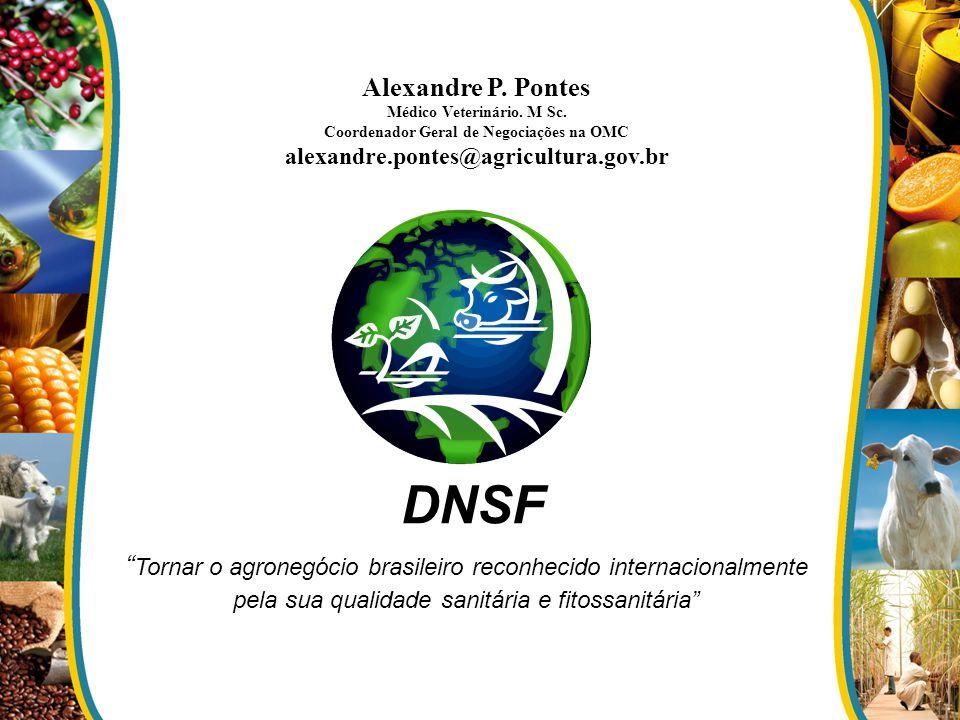 DNSF Tornar o agronegócio brasileiro reconhecido internacionalmente pela sua qualidade sanitária e fitossanitária Alexandre P. Pontes Médico Veterinár