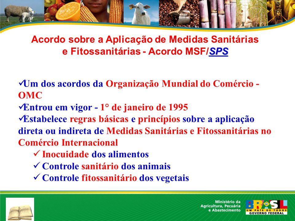SPS Acordo sobre a Aplicação de Medidas Sanitárias e Fitossanitárias - Acordo MSF/SPS Um dos acordos da Organização Mundial do Comércio - OMC Entrou e