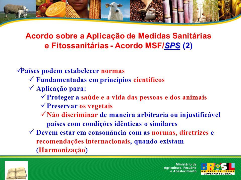 SPS Acordo sobre a Aplicação de Medidas Sanitárias e Fitossanitárias - Acordo MSF/SPS (2) Países podem estabelecer normas Fundamentadas em princípios