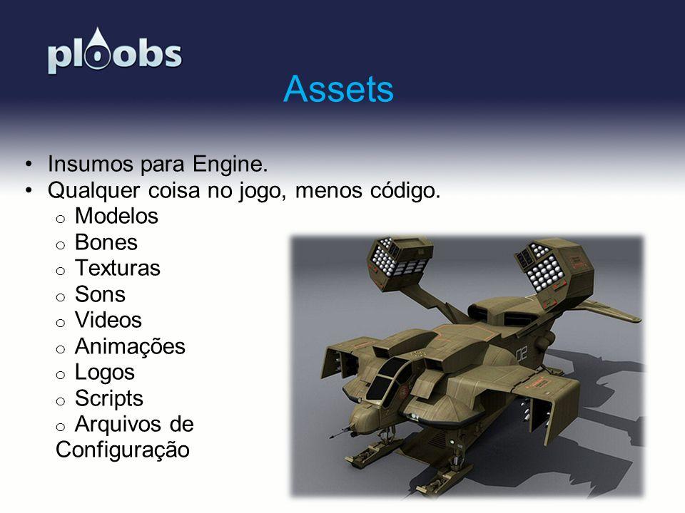 Page 13 Assets Insumos para Engine. Qualquer coisa no jogo, menos código. o Modelos o Bones o Texturas o Sons o Videos o Animações o Logos o Scripts o