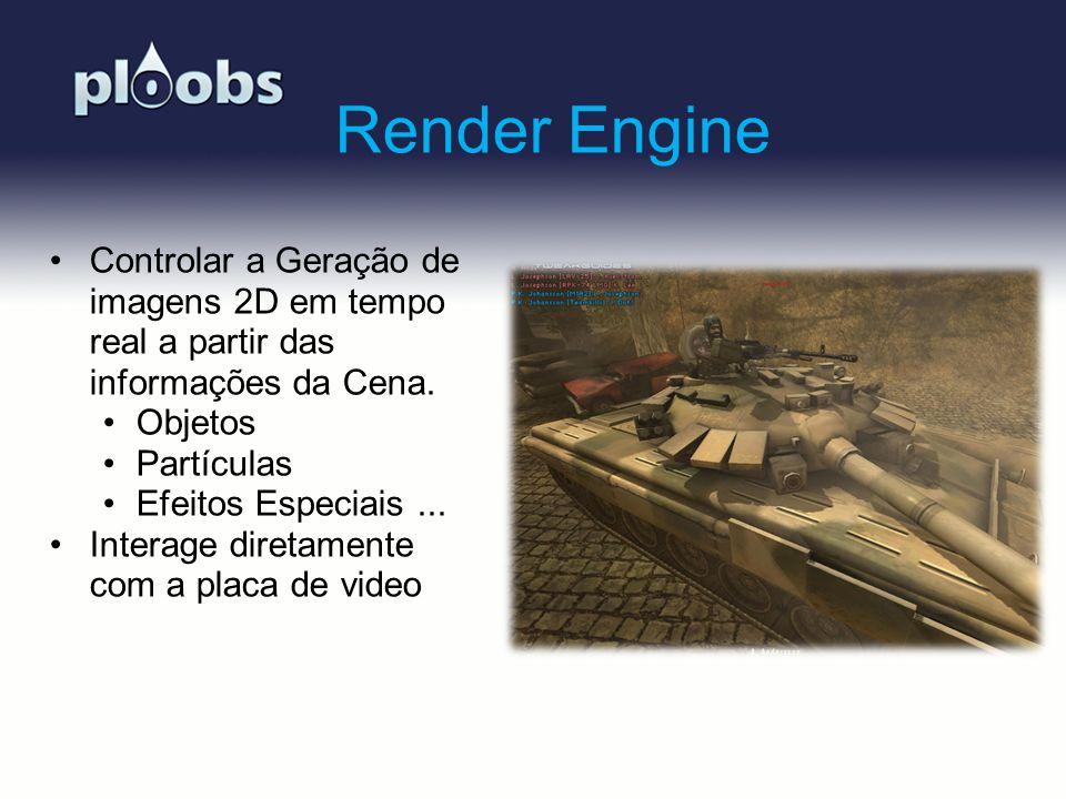 Page 4 Render Engine Controlar a Geração de imagens 2D em tempo real a partir das informações da Cena. Objetos Partículas Efeitos Especiais... Interag