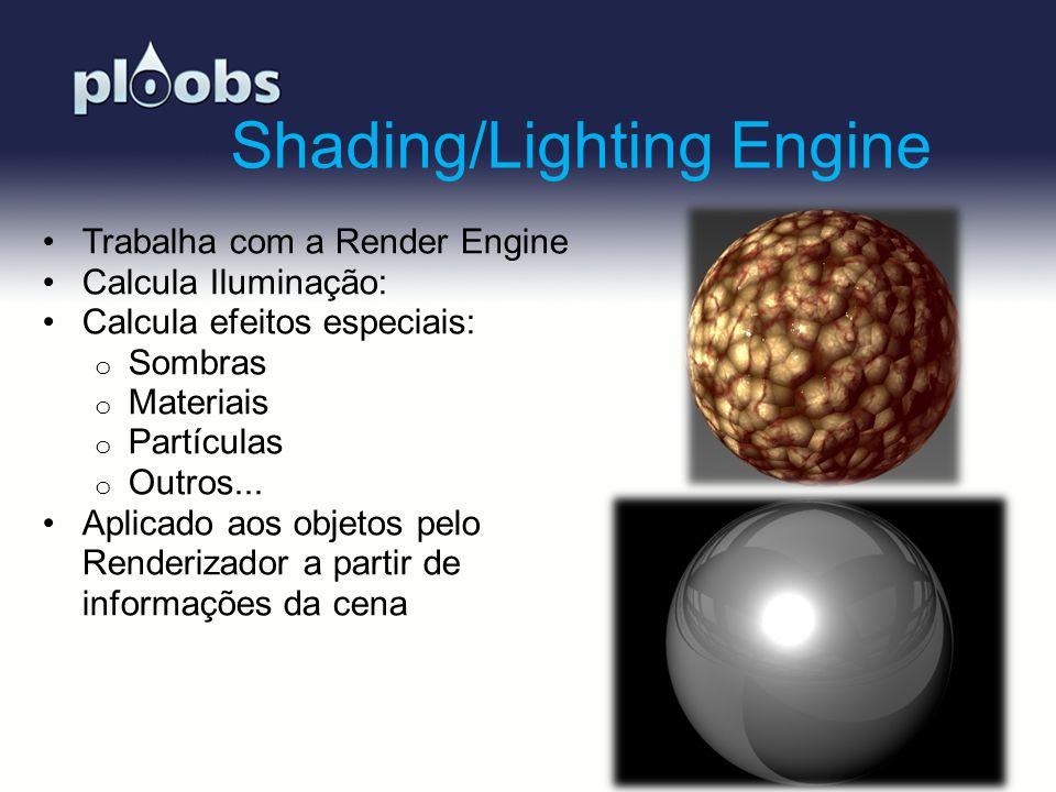 Page 5 Shading/Lighting Engine Trabalha com a Render Engine Calcula Iluminação: Calcula efeitos especiais: o Sombras o Materiais o Partículas o Outros