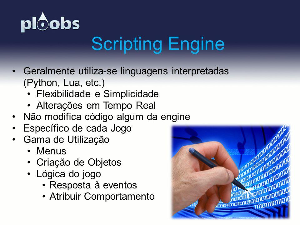 Page 8 Scripting Engine Geralmente utiliza-se linguagens interpretadas (Python, Lua, etc.) Flexibilidade e Simplicidade Alterações em Tempo Real Não m