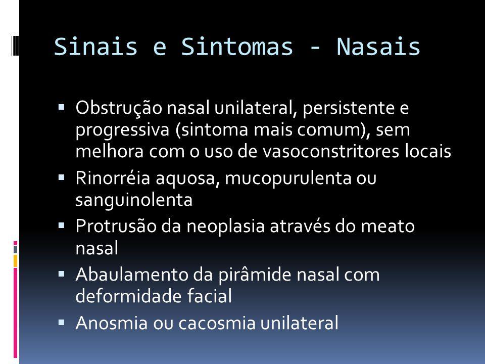 Sinais e Sintomas - Nasais Obstrução nasal unilateral, persistente e progressiva (sintoma mais comum), sem melhora com o uso de vasoconstritores locais Rinorréia aquosa, mucopurulenta ou sanguinolenta Protrusão da neoplasia através do meato nasal Abaulamento da pirâmide nasal com deformidade facial Anosmia ou cacosmia unilateral