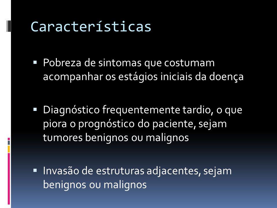 Características Pobreza de sintomas que costumam acompanhar os estágios iniciais da doença Diagnóstico frequentemente tardio, o que piora o prognóstico do paciente, sejam tumores benignos ou malignos Invasão de estruturas adjacentes, sejam benignos ou malignos