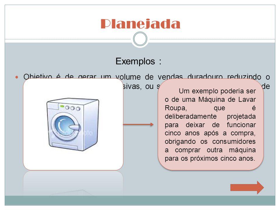 Planejada Exemplos : Outro exemplo são as lâmpadas de Data Show que possuem vida útil de 3000 horas.
