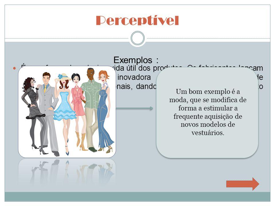 Perceptível Exemplos : Outro exemplo são os celulares, que modificam seu forma, mas sempre continuam com a principal função.