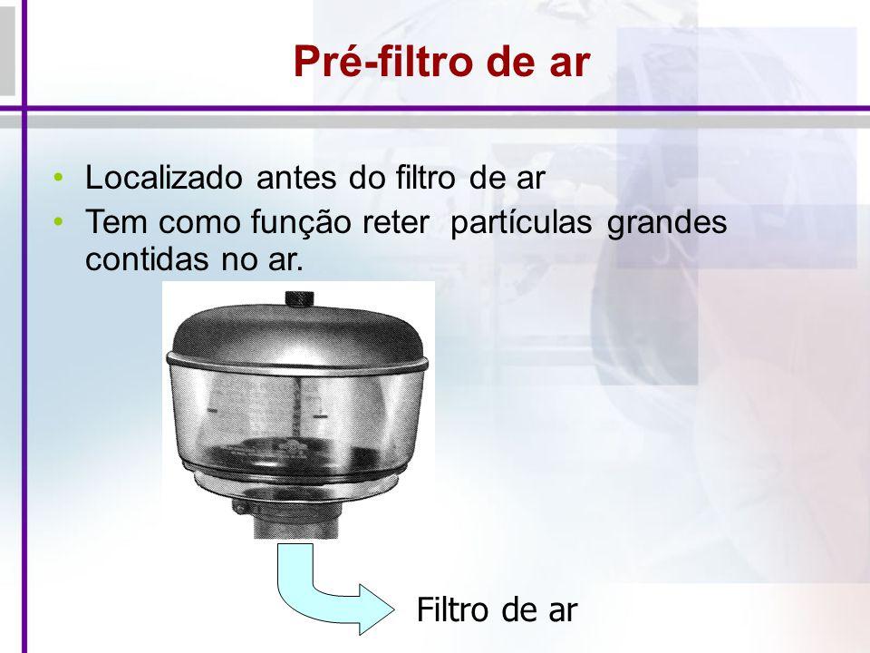 Pré-filtro de ar Localizado antes do filtro de ar Tem como função reter partículas grandes contidas no ar. Filtro de ar
