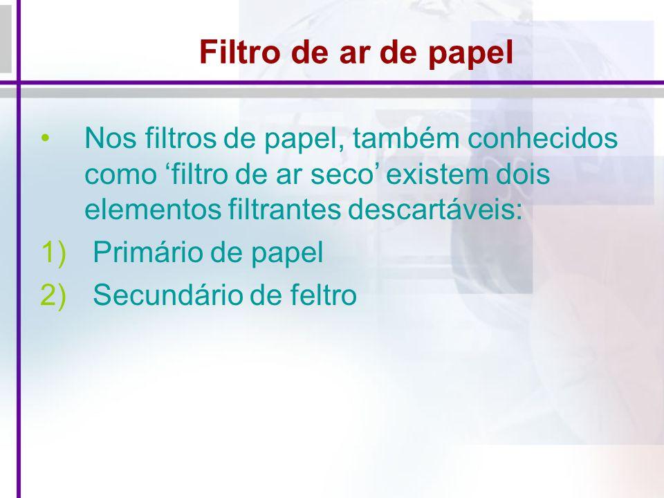 Filtro de ar de papel Nos filtros de papel, também conhecidos como filtro de ar seco existem dois elementos filtrantes descartáveis: 1) Primário de papel 2) Secundário de feltro