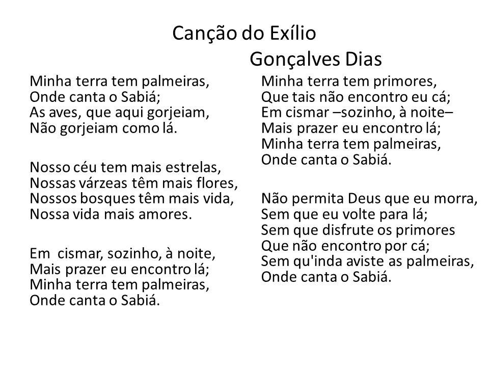 Canção do Exílio Gonçalves Dias Minha terra tem palmeiras, Onde canta o Sabiá; As aves, que aqui gorjeiam, Não gorjeiam como lá. Nosso céu tem mais es