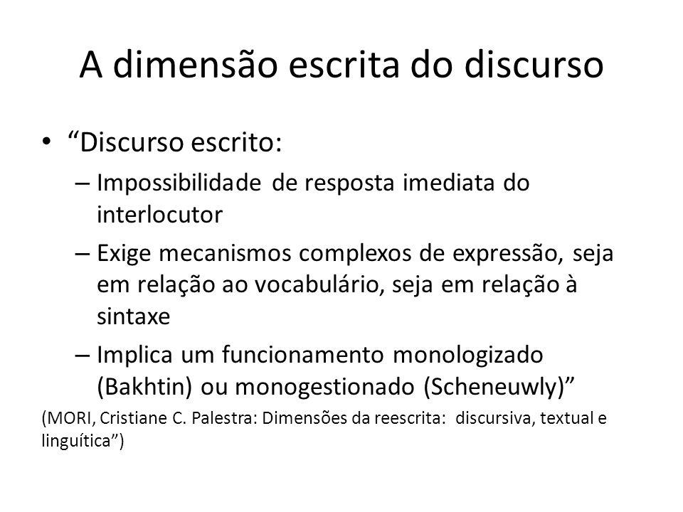A dimensão escrita do discurso Discurso escrito: – Impossibilidade de resposta imediata do interlocutor – Exige mecanismos complexos de expressão, sej