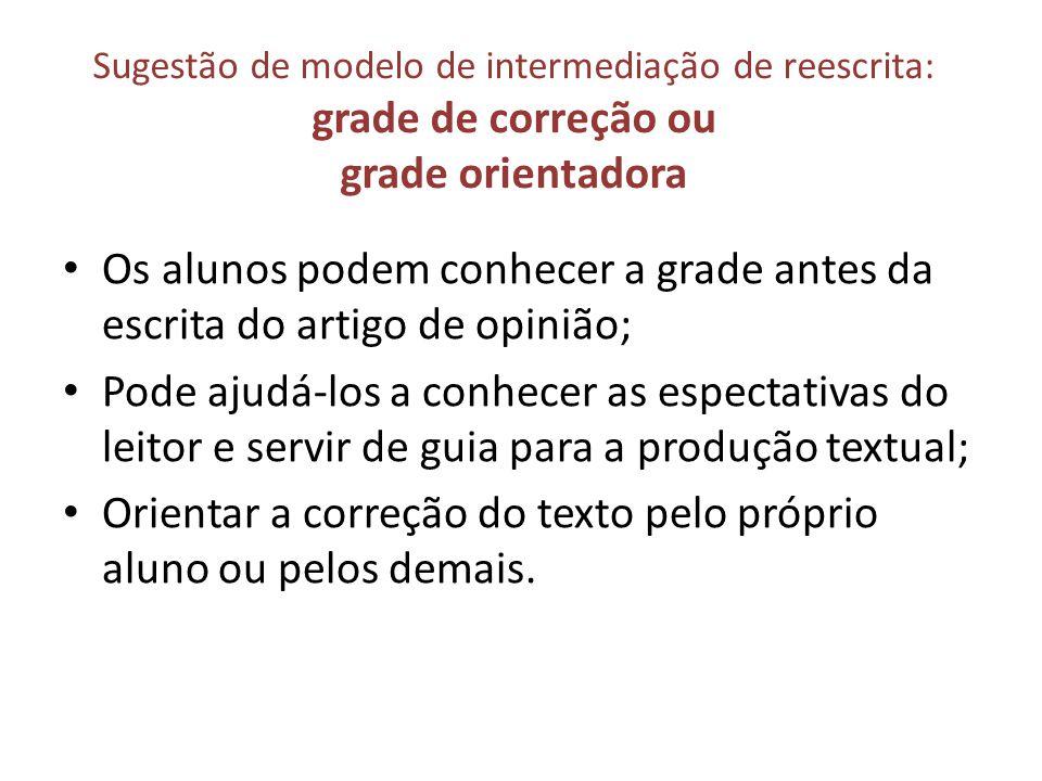 Sugestão de modelo de intermediação de reescrita: grade de correção ou grade orientadora Os alunos podem conhecer a grade antes da escrita do artigo d