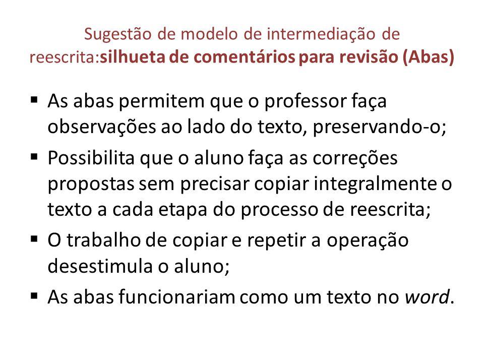 Sugestão de modelo de intermediação de reescrita: silhueta de comentários para revisão (Abas) As abas permitem que o professor faça observações ao lad