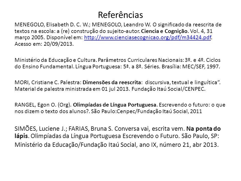 Referências MENEGOLO, Elisabeth D. C. W.; MENEGOLO, Leandro W. O significado da reescrita de textos na escola: a (re) construção do sujeito-autor. Cie