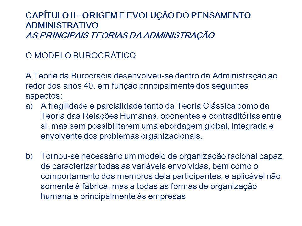 CAPÍTULO II - ORIGEM E EVOLUÇÃO DO PENSAMENTO ADMINISTRATIVO AS PRINCIPAIS TEORIAS DA ADMINISTRAÇÃO O MODELO BUROCRÁTICO A Teoria da Burocracia desenv