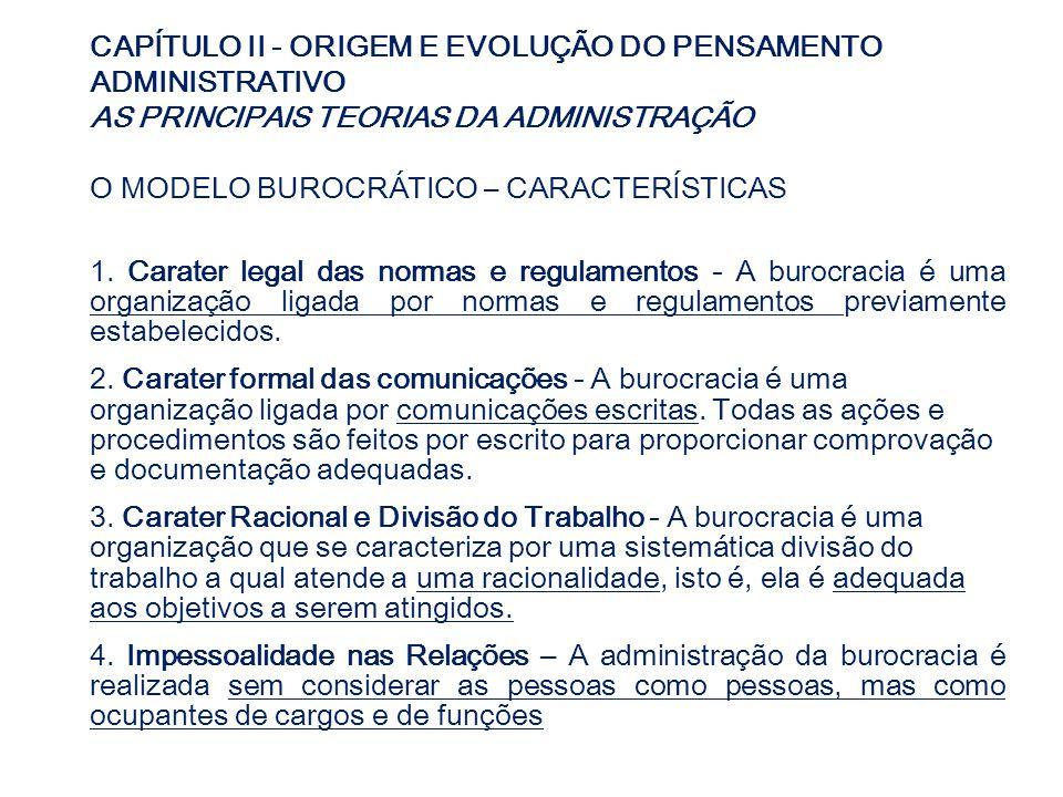 CAPÍTULO II - ORIGEM E EVOLUÇÃO DO PENSAMENTO ADMINISTRATIVO AS PRINCIPAIS TEORIAS DA ADMINISTRAÇÃO O MODELO BUROCRÁTICO – CARACTERÍSTICAS 1. Carater
