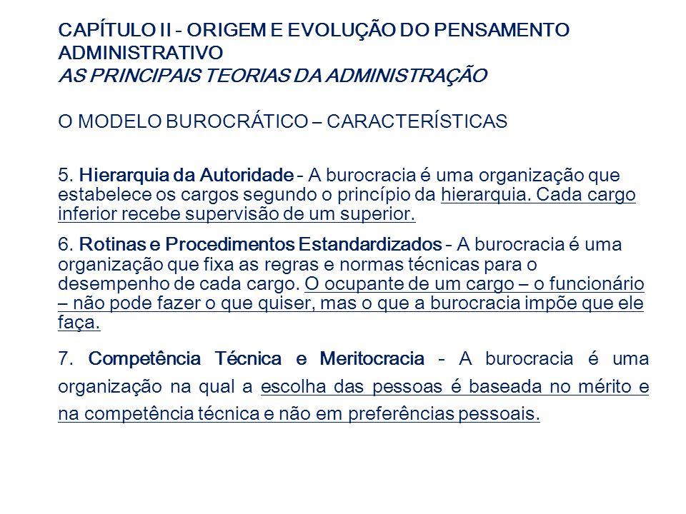 CAPÍTULO II - ORIGEM E EVOLUÇÃO DO PENSAMENTO ADMINISTRATIVO AS PRINCIPAIS TEORIAS DA ADMINISTRAÇÃO O MODELO BUROCRÁTICO – CARACTERÍSTICAS 5. Hierarqu
