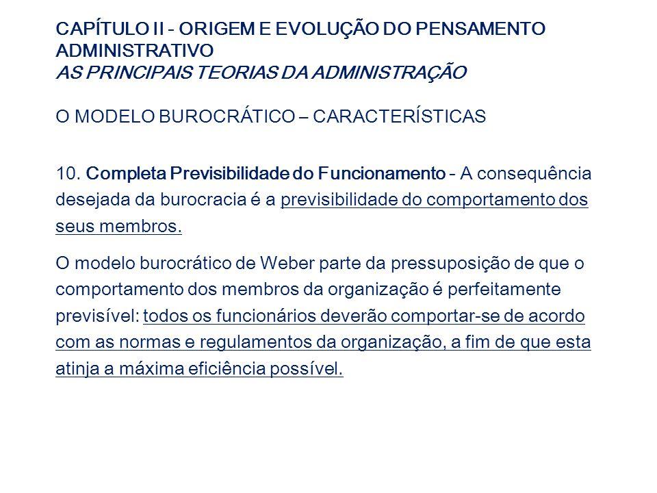 CAPÍTULO II - ORIGEM E EVOLUÇÃO DO PENSAMENTO ADMINISTRATIVO AS PRINCIPAIS TEORIAS DA ADMINISTRAÇÃO O MODELO BUROCRÁTICO – CARACTERÍSTICAS 10. Complet