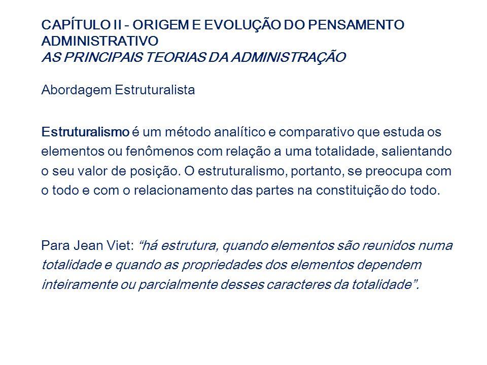 CAPÍTULO II - ORIGEM E EVOLUÇÃO DO PENSAMENTO ADMINISTRATIVO AS PRINCIPAIS TEORIAS DA ADMINISTRAÇÃO Abordagem Estruturalista Estruturalismo é um métod